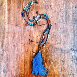 🌵📿Boho Tassel Fringe Layer Wood Long Necklace🌵✨
